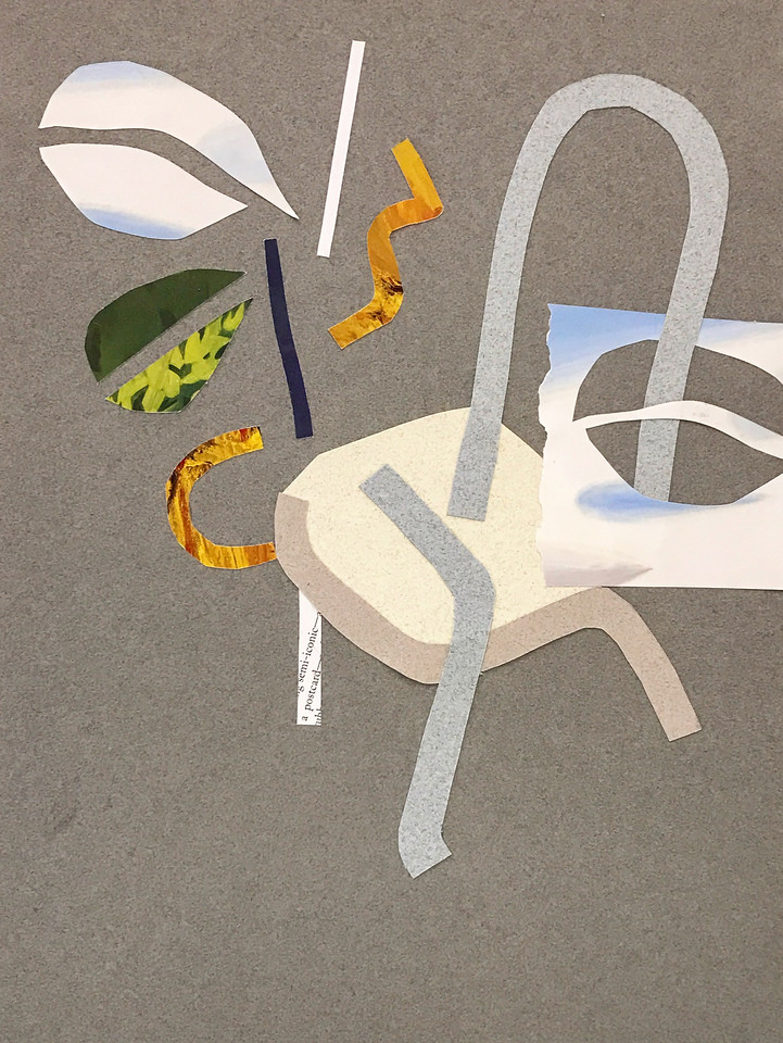 """Chair and plant"" - collage on paper - 9x12 in"