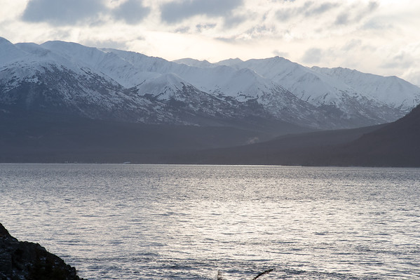 The Kenai Mountains as viewed across Turnagain Arm from the Seward Highway south of Anchorage.