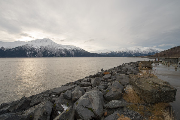 Turnagain Arm with the Kenai Mountains on the other side.