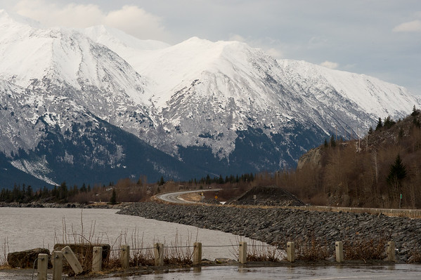 Looking north along the Seward Highway at Bird Point.