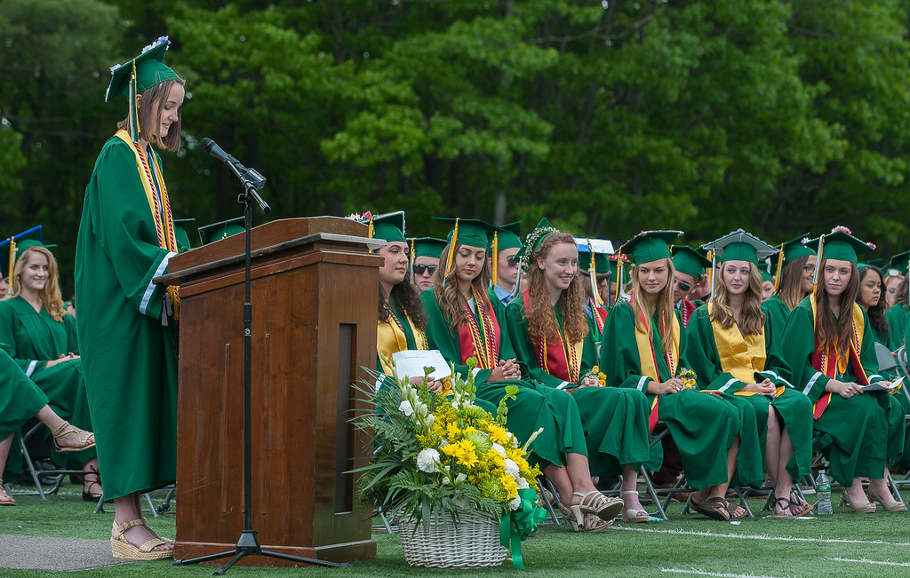 . Maura LeBlanc, Student Council President gives her  Address at the Oakmont Regional High School Class of 2017 Commencement. SENTINEL&ENTERPRISE/ Jim Marabello