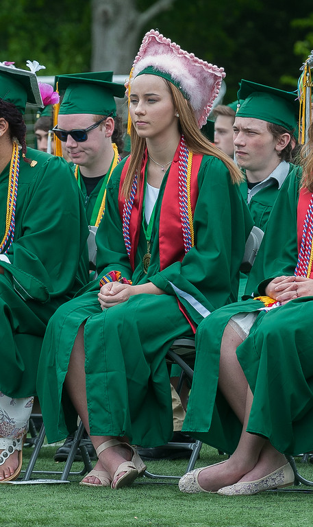 . Emma Reitz sports a pink fuzzy mortarboard at the Oakmont Class of 2017 Commencement. SENTINEL&ENTERPRISE/ Jim Marabello