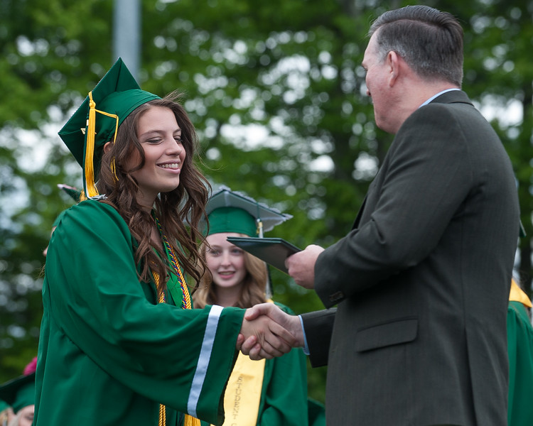 Senior Paige Toothaker recveives her diploma at the Oakmont Class of 2017 Commencement. SENTINEL&ENTERPRISE/ Jim Marabello