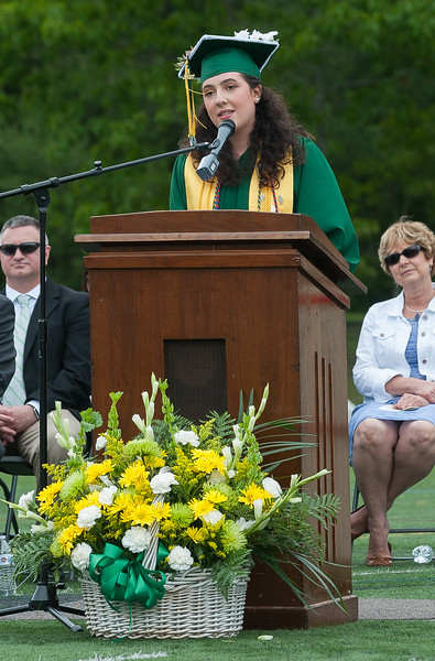 Laurynn Bedard Class of 2017 President gives her Welcome and Address at the Oakmont Regional High School Class of 2017 Commencement. SENTINEL&ENTERPRISE/ Jim Marabello
