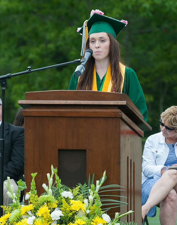 . Valedictorian Emily Buchanan gives her  Address at the Oakmont Regional High School Class of 2017 Commencement. SENTINEL&ENTERPRISE/ Jim Marabello