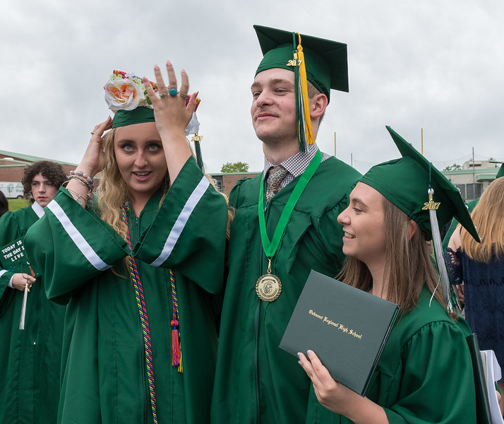 Scenes from the Oakmont Class of 2017 Commencement. Madison Simon, Jarrrod Erskine and Kamryn Maesto. SENTINEL&ENTERPRISE/ Jim Marabello