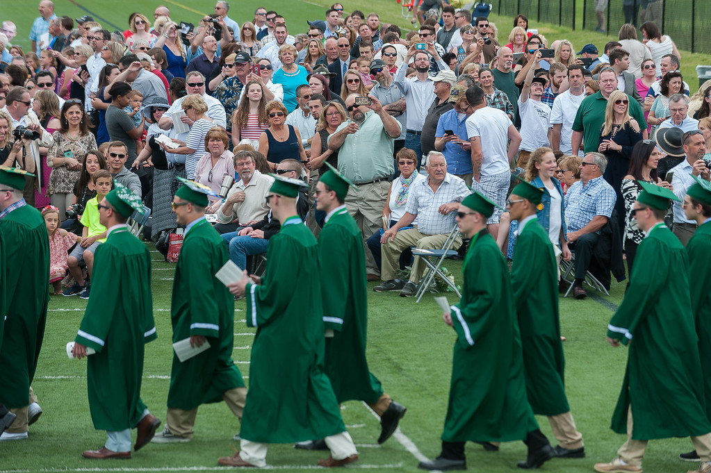 . Family and friends watch as graduates march in during the Processional at the Oakmont Class of 2017 Commencement. SENTINEL&ENTERPRISE/ Jim Marabello