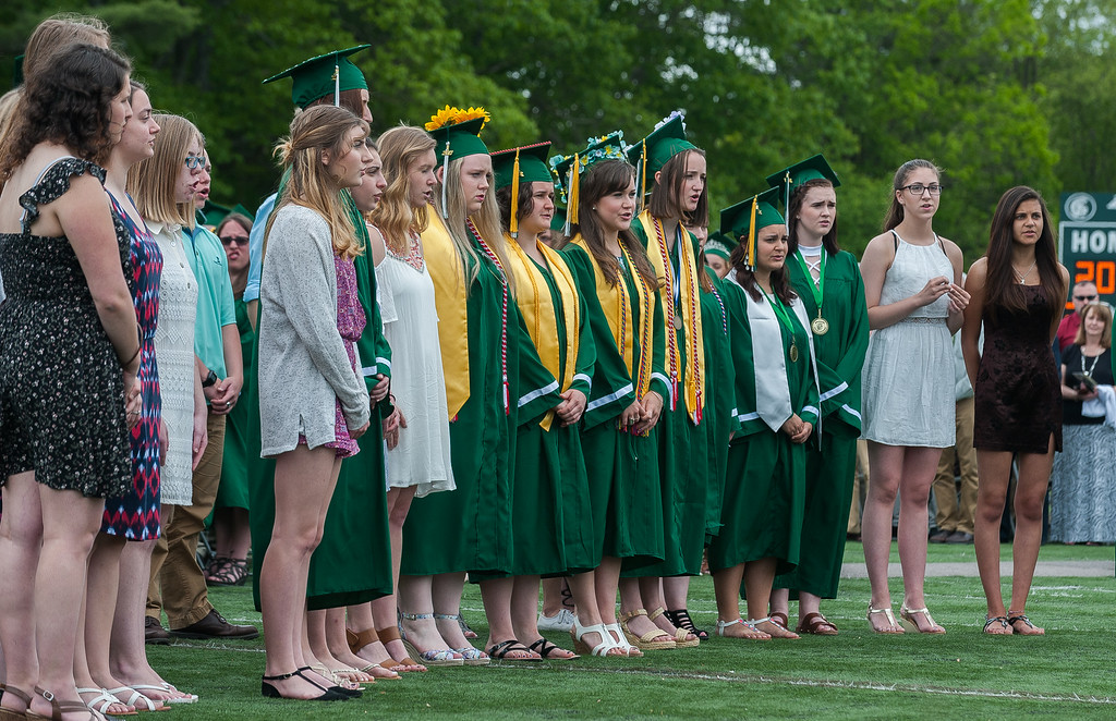 . The Oakmont Concert Choir sings the Star Spangled Banner at the Oakmont Regional High School Class of 2017 Commencement. SENTINEL&ENTERPRISE/ Jim Marabello