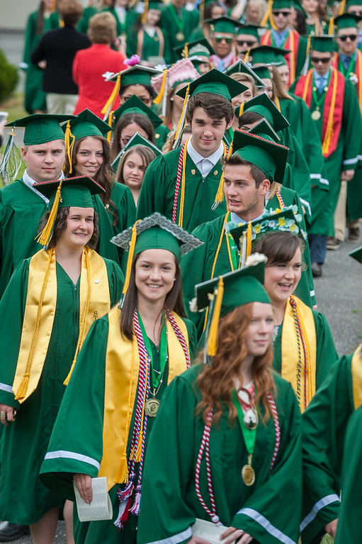 . Graduates march in during the Processional at the Oakmont Class of 2017 Commencement. SENTINEL&ENTERPRISE/ Jim Marabello