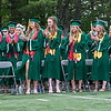 Classmates give Class of 2017 President Laurynn Bedard a standing ovation after her address at the Oakmont Regional High School Class of 2017 Commencement. SENTINEL&ENTERPRISE/ Jim Marabello