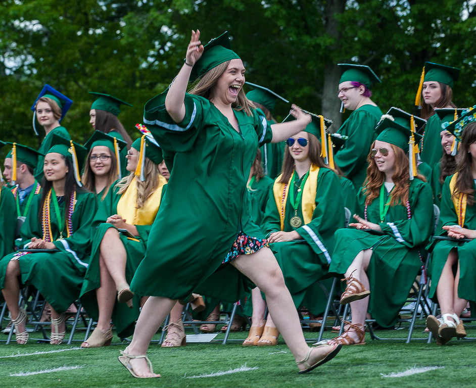 . Kamryn Maesto reacts to recieving her diploma at the Oakmont Regional High School Class of 2017 Commencement. SENTINEL&ENTERPRISE/ Jim Marabello