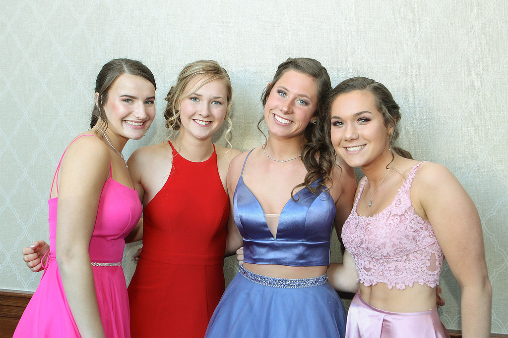 . Hannah Craeedy Sydney Moulton Delaney Collins and Megan Brown attend the prom -Courtesy photo