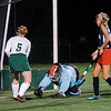 North Middlesex goalie Rachel Record protects the net before letting up a goal to Oakmont on Tuesday evening. SENTINEL & ENTERPRISE / Ashley Green