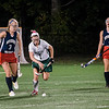 North Middlesex's Maggie Hackler and Oakmont's Taylor Ladue chase down the ball during the game on Tuesday evening. SENTINEL & ENTERPRISE / Ashley Green