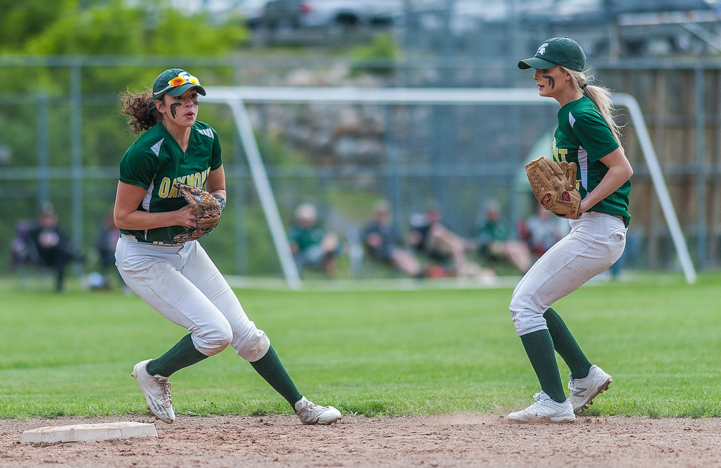 . Oakmont SS Brihanna Barry snags a line drive and gets ready tp throw to 1st base to turn a double play against Nipmuc in the Central Mass. Division 2 quarterfinals. SENTINEL&ENTERPRISE/ Jim Marabello