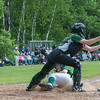 Cassidy Driscoll of Oakmont slides in under an incoming throw to Nipmuc catcher Rebecca Rausch in the Central Mass. Division 2 quarterfinals. SENTINEL&ENTERPRISE/ Jim Marabello
