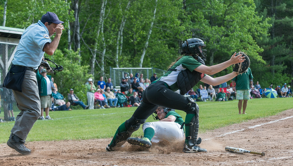 . Cassidy Driscoll of Oakmont slides in under an incoming throw to Nipmuc catcher Rebecca Rausch in the Central Mass. Division 2 quarterfinals. SENTINEL&ENTERPRISE/ Jim Marabello