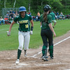 Oakmont SS Brihanna Barry crosses the plate with Oakmont's first and ultimately game winning run against Nipmuc in the  Central Mass. Division 2 quarterfinals. SENTINEL&ENTERPRISE/ Jim Marabello