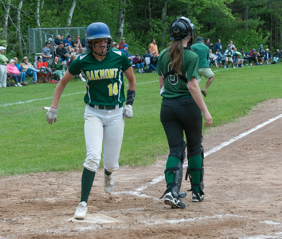 . Oakmont SS Brihanna Barry crosses the plate with Oakmont\'s first and ultimately game winning run against Nipmuc in the  Central Mass. Division 2 quarterfinals. SENTINEL&ENTERPRISE/ Jim Marabello
