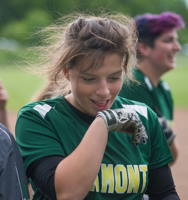 . Oakmont pitcher Paige Toothaker gives a grin after defeating Nipmuc in the Central Mass. Division 2 quarterfinals. SENTINEL&ENTERPRISE/ Jim Marabello