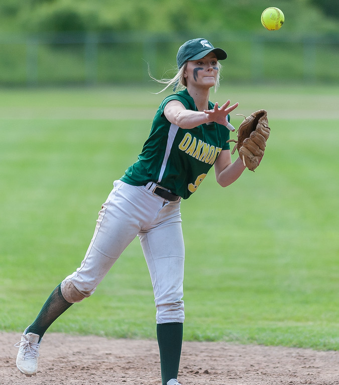 . Oakmont 2B Cammie Baril makes the throw to first base against Nipmuc in the Central Mass. Division 2 quarterfinals. SENTINEL&ENTERPRISE/ Jim Marabello