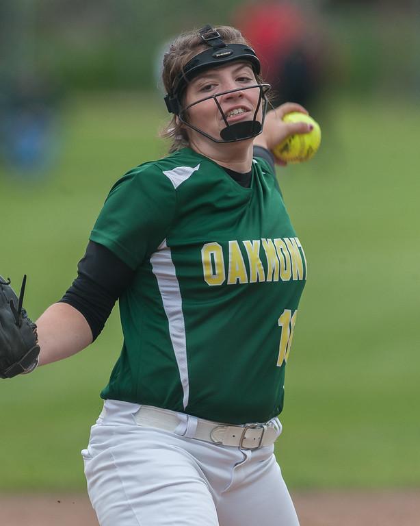 . Oakmont pitcher Paige Toothaker lets one go in the Central Mass. Division 2 quarterfinals against Nipmuc. SENTINEL&ENTERPRISE/ Jim Marabello