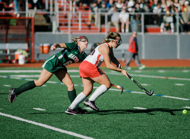 Oakmont's Maddie Moran in action during the Division 2 state championship game against Watertown on Saturday afternoon at WPI. The Spartans would fall to Raiders 4-3. SENTINEL & ENTERPRISE / Ashley Green