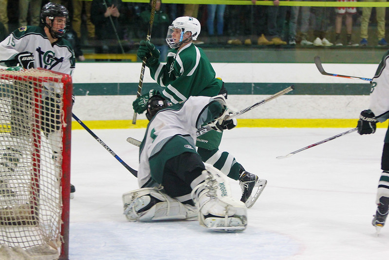 Ryan Caisse gets in tight on the goalie just missing