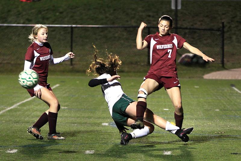 Oakmonts Macy Litalien attepmts to block the shot by Brianna Smith