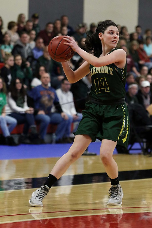 . Oakmont Regional High School player Cassidie Lison looks for an open teammate during their match up with Sutton High Schools at Kneller Athletic Center at Clark University on Thursday, March 8, 2018 during the division III semi-finals. SENTINEL & ENTERPRISE/JOHN LOVE
