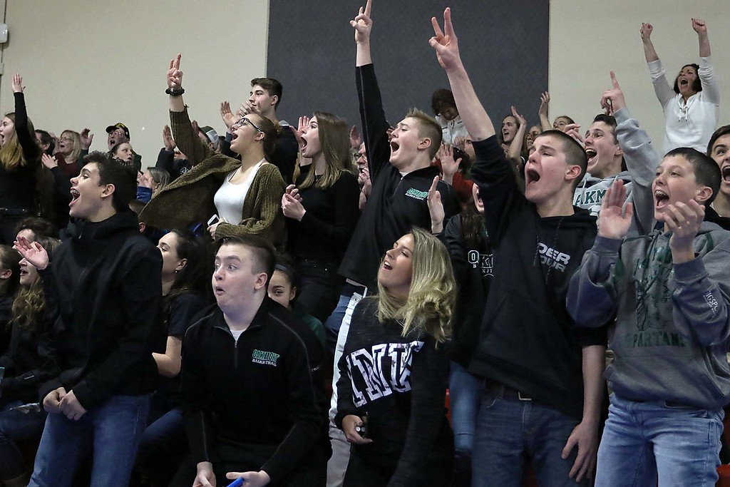 . Oakmont Regional High School fans cheer on the girls team at they played Sutton High School at Kneller Athletic Center at Clark University on Thursday, March 8, 2018. SENTINEL & ENTERPRISE/JOHN LOVE