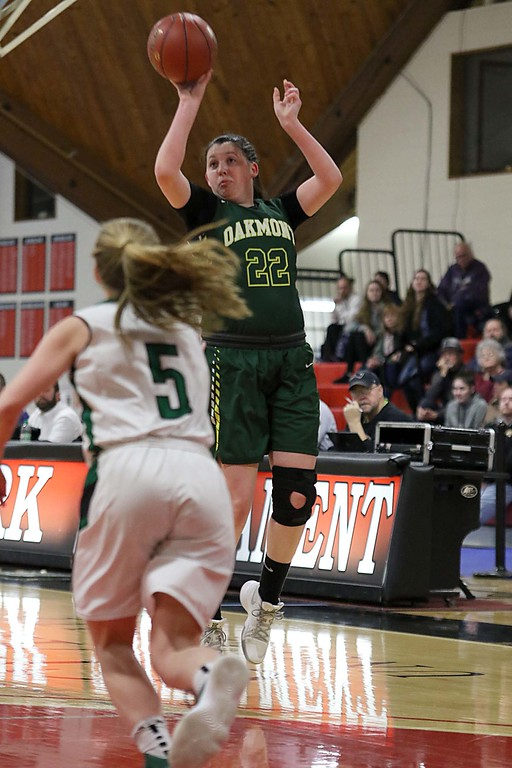 . Oakmont Regional High School player Kylie Lison puts up her first three pointer against Sutton High Schools during their game at Clark University on Thursday, March 8, 2018 during the division III semi-finals. SENTINEL & ENTERPRISE/JOHN LOVE