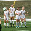 Tyngsboro High School played Oakmont Regional High School on Tuesdsay, September 10, 2019. ORHS's Macy Litalien tries to get the ball over THS', from left, Nia Bergeron, Isabel Gabriel, Jenna Mitza and Madison Hickey. SENTINEL & ENTERPRISE/JOHN LOVE
