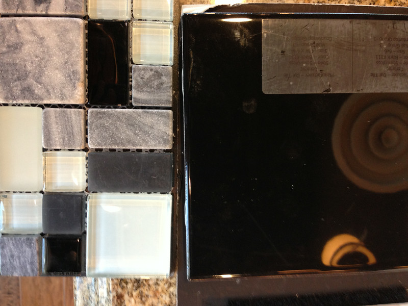 Black 6.25 x 6.25  Semi Gloss tile for basement bath#3 wall group 3, counter top #1