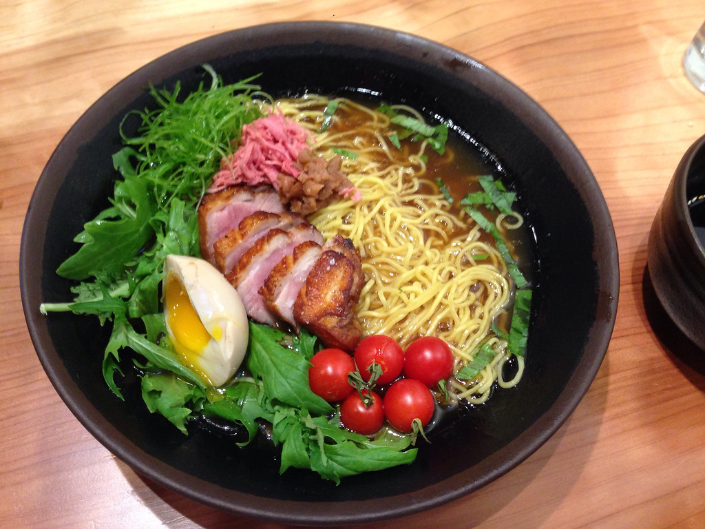 . The Bird Ramen with its artful arrangement of toppings including bright green seaweed, rosy ginger pickled with salted plum vinegar and tiny crimson tomatoes is spectacular. (Ann Parker -- Santa Cruz Sentinel)