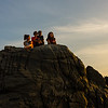 Family on the rock, Zicatela beach, Puerto Escondido, Oaxaca