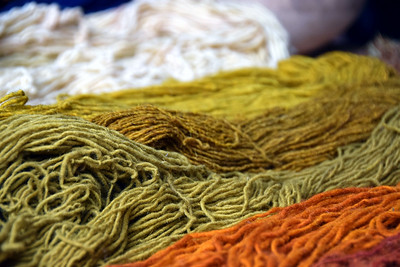Naturally dyed wool for artisan rugs, Teotitlán del Valle