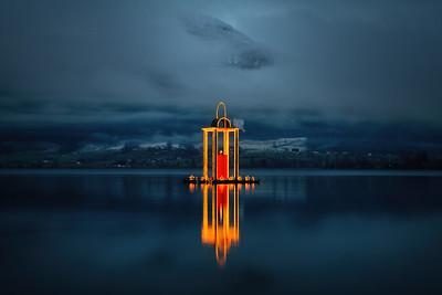 Friedenslicht Laterne auf dem Wolfgangsee