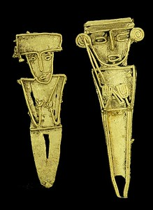 Pair of Muisca Gold Figural Tunjos