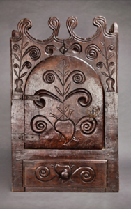 Hand-carved Curio Cabinet with Sacred Heart and Floral Motifs