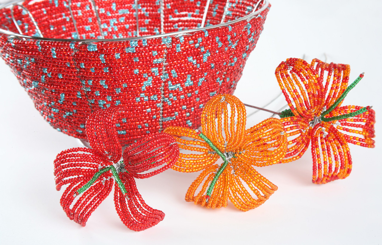 Red wire and bead bowl with wire and bead flowers