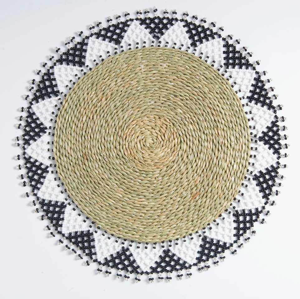 Bead and raffia placemat