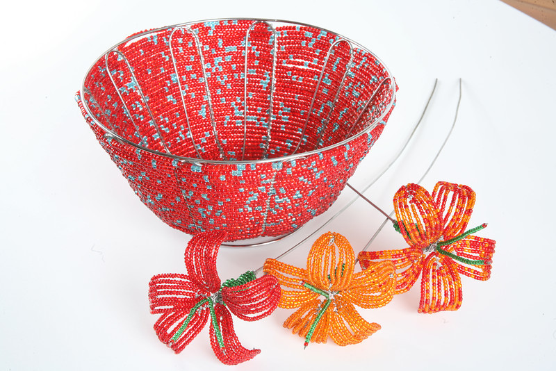 Wire and bead bowl and flowers