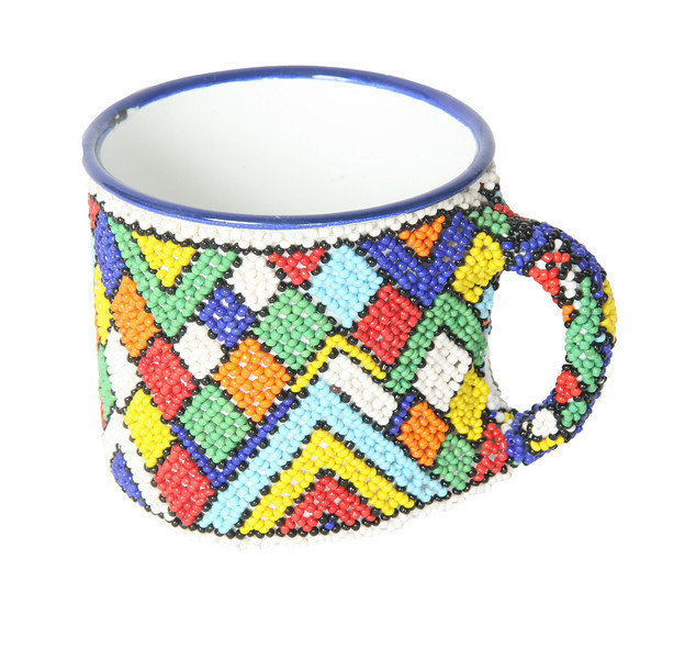 Beaded enamel mug