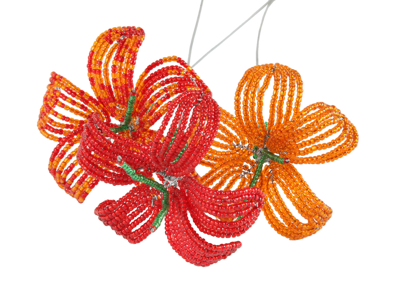 Wire and bead flowers