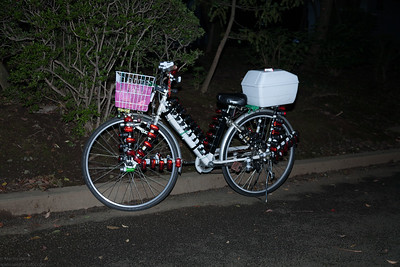 This bicycle is decorated with an incredible number of LED lights. Unfortunately I could not yet see it in action in the night.