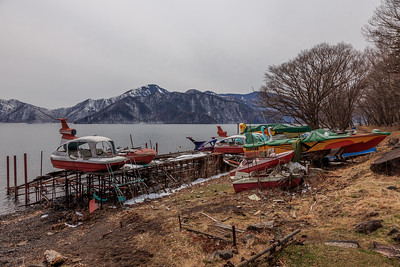Even in the most remote and pristine areas of Japan there is always some kind of a trash yard. On he shore of the otherwise beautiful lake Chusenji it comes in the form of retired boats and pedalos. Are they  waiting for resurecction?