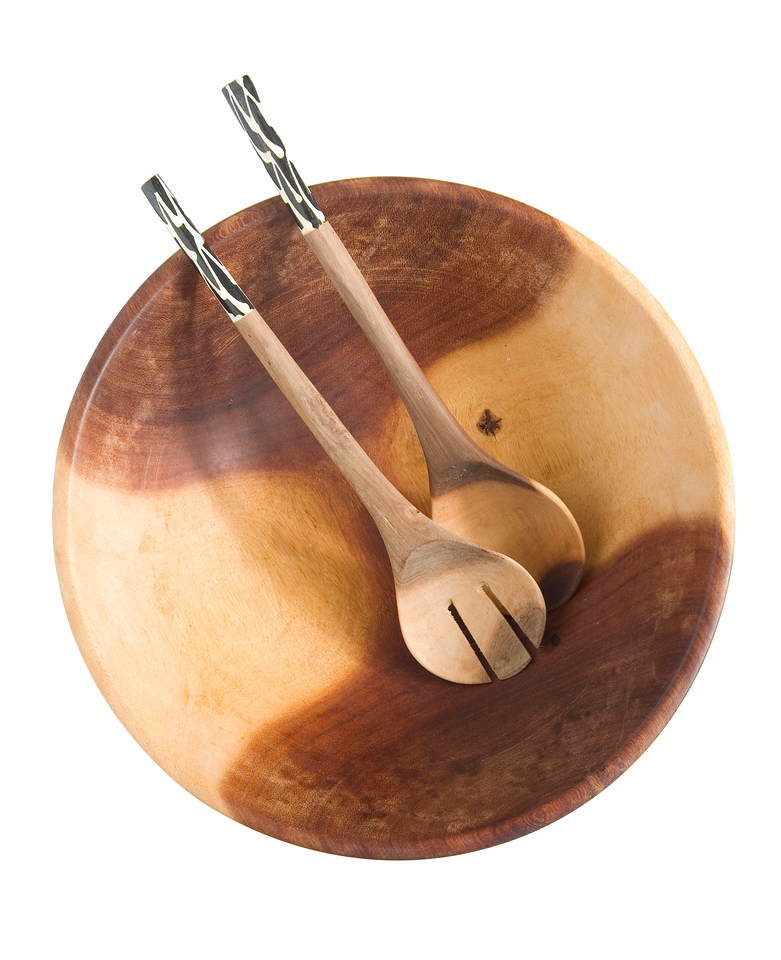 Handcrafted wooden bowls and salad servers