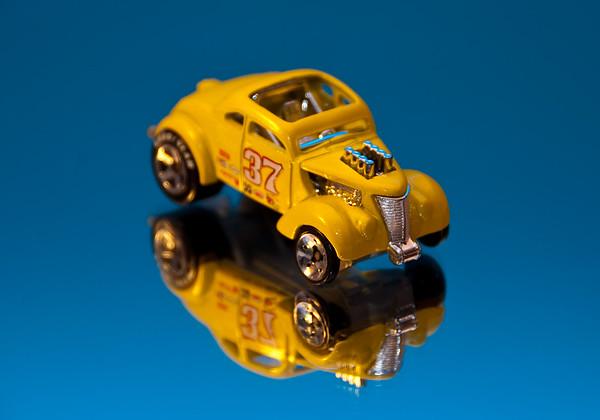 Hot wheels car on mirror