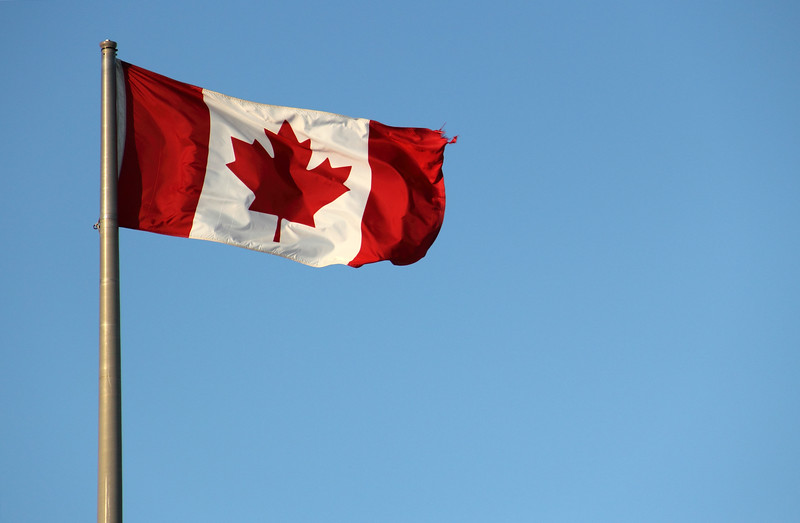 Canadian Flag a Little Torn at Sunset